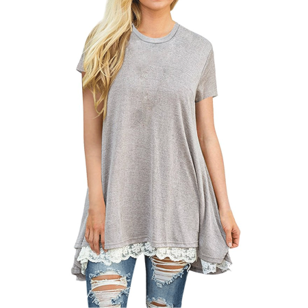 68a13898 A Blue Man Gray Summer Tunic T-Shirts for Women, Round Neck Tunic Top for  Women, Short Sleeve Black Tunic Blouses for Women (A2770GRL, Asian  Size:S-2XL )
