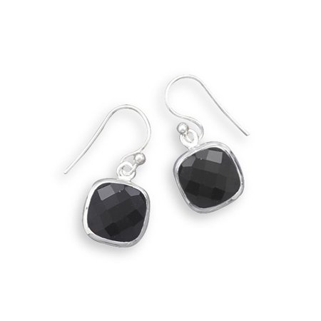 Black Onyx Earrings Square Faceted Sterling Silver