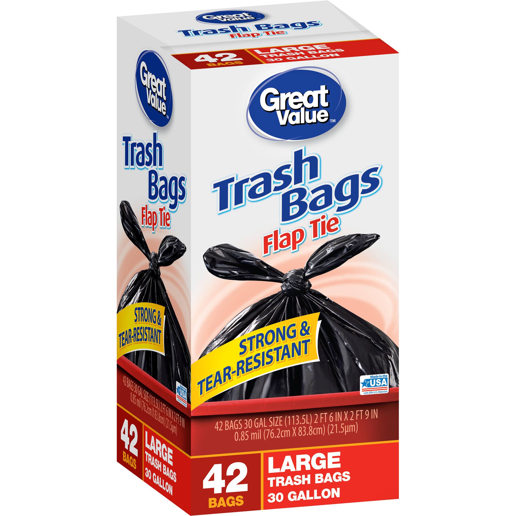Great Value Flap Tie Closure Large Trash Bags, 30 gal, 42 count