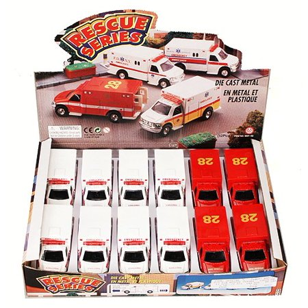 Rescue Series Ambulance Diecast Car Package - Box of 12 assorted 5 Inch Scale Diecast Model Cars (1 12 Scale Car Model)