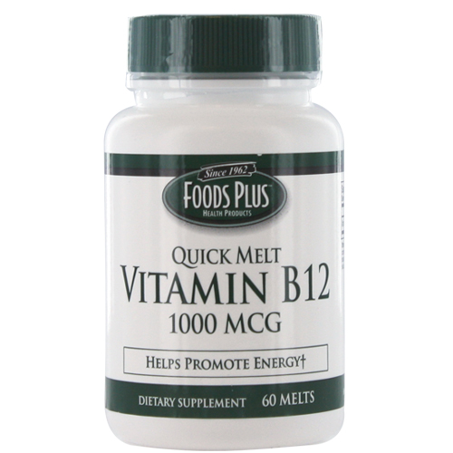 Vitamin B-12 1000 Mcg Sublingual Quick Melts By Food Plus, 60 Tablets