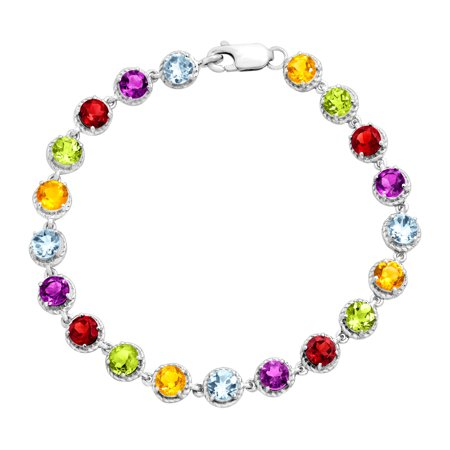 Gemstone Bracelet - Sterling Silver Rhodium Plated Multi Gemstone Bracelet 7.5 Inches