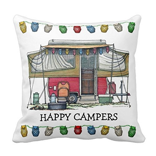 DEYOU Cute Rv Vintage Popup Camper Travel Trailer Pillowcase Pillow Case Cover Two Sides Printing Size 18x18 inch