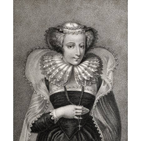 Mary Queen Of Scots 1542 1587 Also Mary Stuart Daughter Of James V King Of Scotland Engraved By Bocquet From The Book A Catalogue Of Royal And Noble Authors Volume V Published 1806 Posterprint
