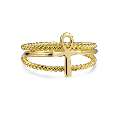 Ankh Cross Spiritual Midi Ring Set of Three Twisted Knuckle Braided 14K Gold Plated 925 Sterling Silver