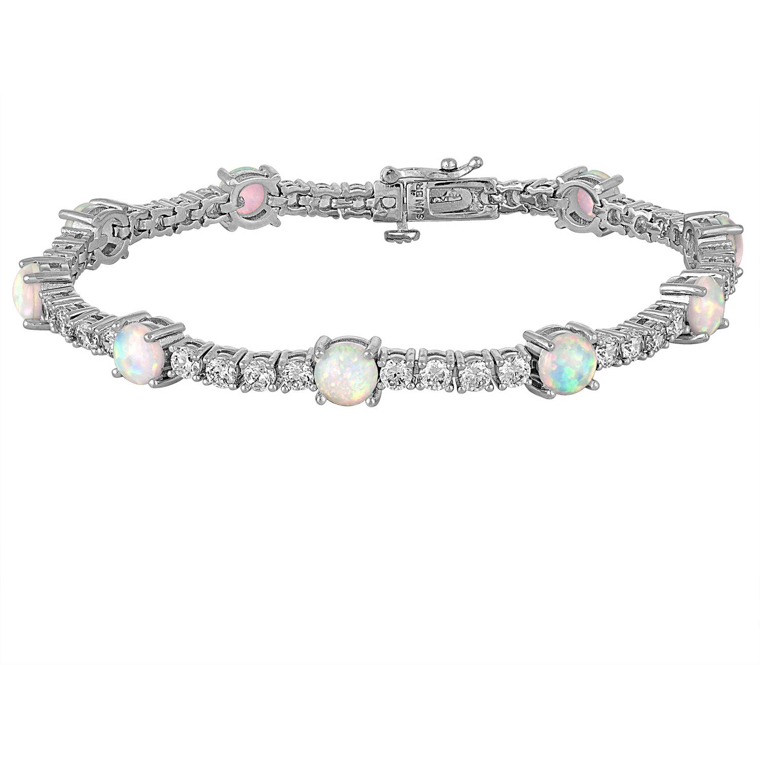 """Gemspirations Sterling Silver Plated Simulated Opal with CZ Accents Tennis Bracelet, 7.25"""""""