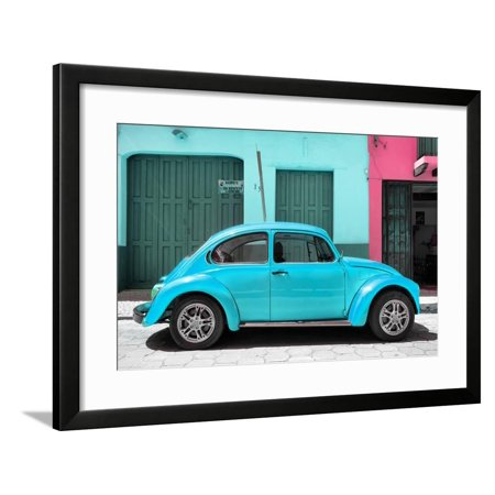 ¡Viva Mexico! Collection - The Turquoise Beetle Car Framed Print Wall Art By Philippe (Mexico Ban)