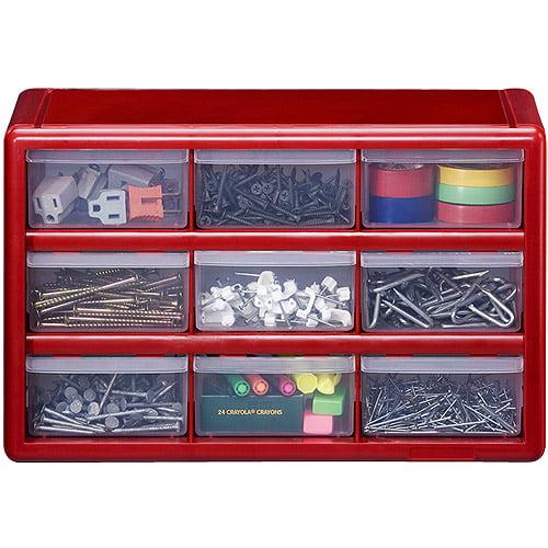 Stack-On 9-Drawer Storage Cabinet, Red - Walmart.com