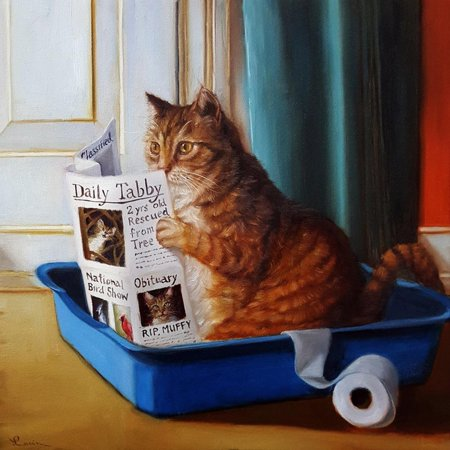 Kitty Throne Cats Bathroom Animal Humor Print Wall Art By Lucia