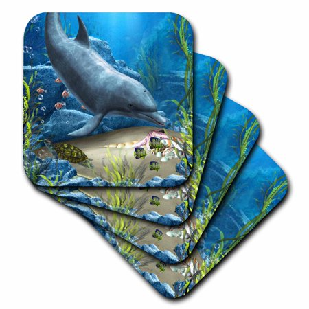 3dRose A dolphin swims in the ocean with turtle fishes and more, Soft Coasters, set of
