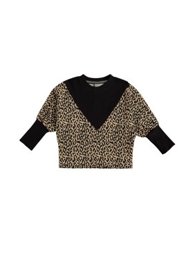 Toddler Boys Knitted Pullovers, Cute Leopard Print Patchwork Batwing Sleeve Crew Neck Sweaters
