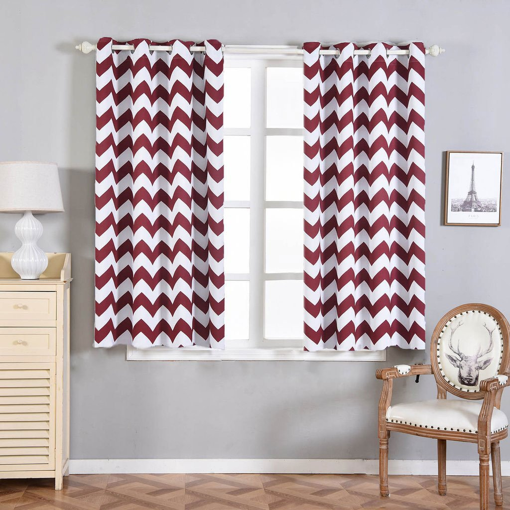 "Efavormart 2 Panels Polyester Chevron Design Thermal Insulated Blackout Room Darkening Grommet Top Curtain 52""x64"""