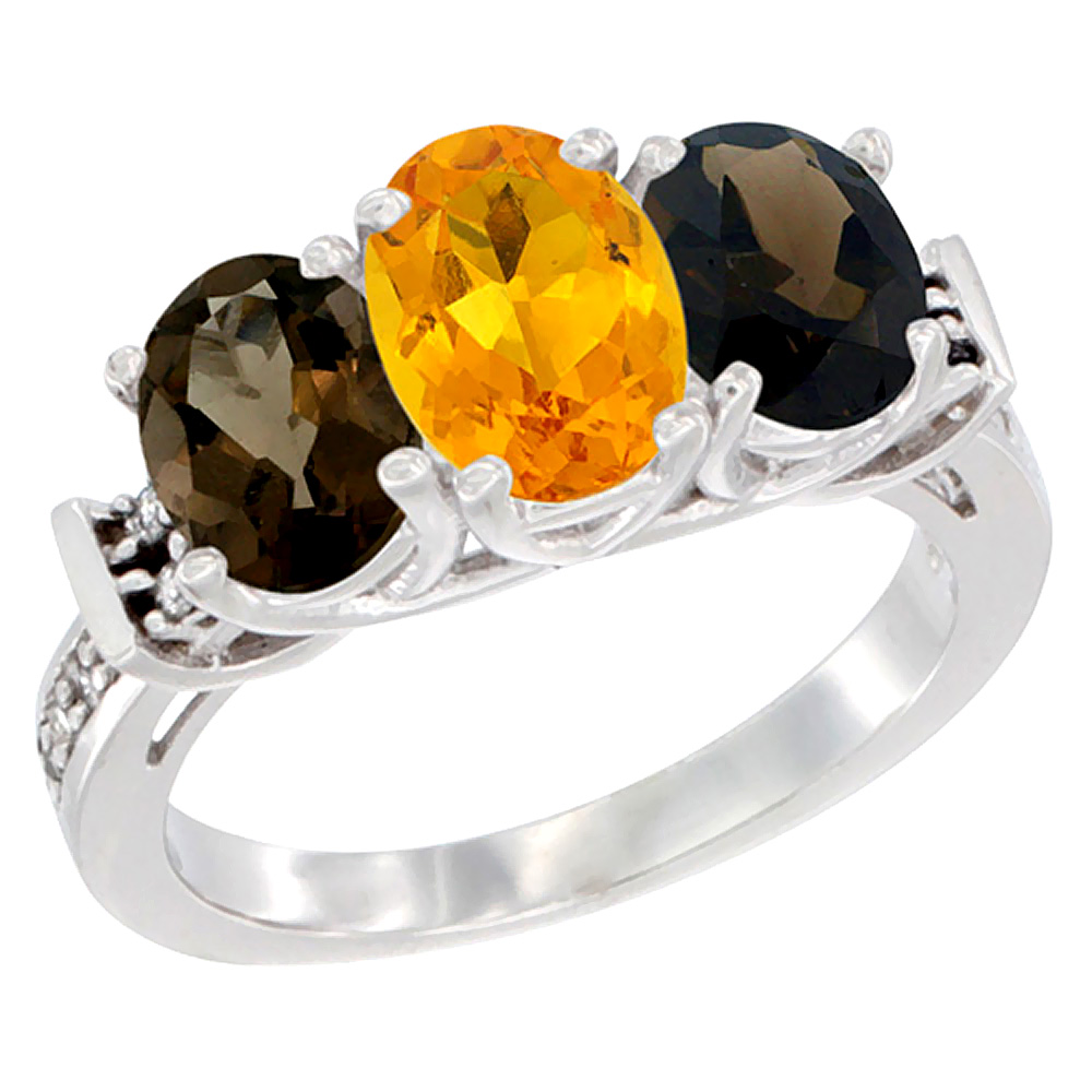 10K White Gold Natural Citrine & Smoky Topaz Sides Ring 3-Stone Oval Diamond Accent, sizes 5 10 by WorldJewels