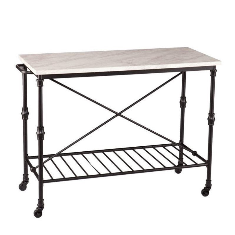 Southern Enterprises Morenci Faux Marble Kitchen Island in Matte Black