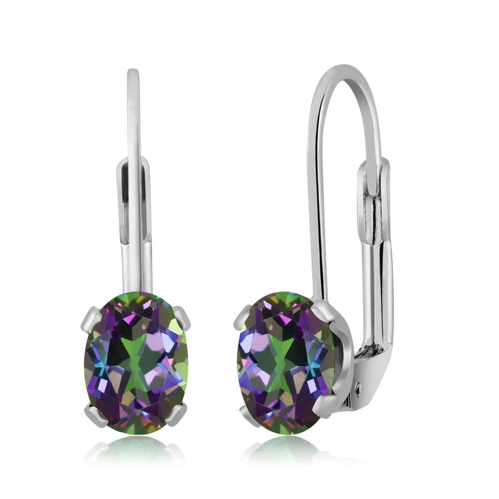 1.90 Ct Oval Green Mystic Topaz Silver Plated 4-prong Leverback Earrings 7x5mm