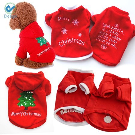 Deago Dog Christmas Pompon Hoodie Pet Clothes for Holiday Festival Party Sweater Costume For Small to Medium - Dog Costume For Dogs