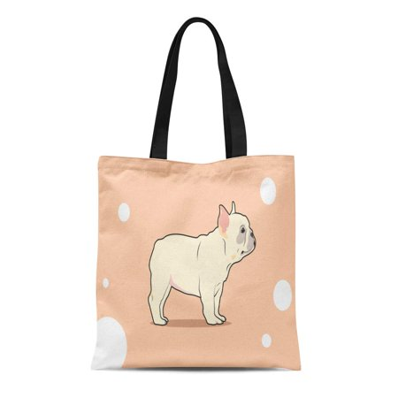 LADDKE Canvas Tote Bag Brown Cute French Bulldog Stand Her Short Legs Pink Reusable Shoulder Grocery Shopping Bags - Ping Stand Bags