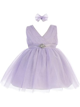 342d93a2445 Product Image Baby Girls Lilac Glitter Tulle V-Neck Rhinestone Brooch Flower  Girl Dress
