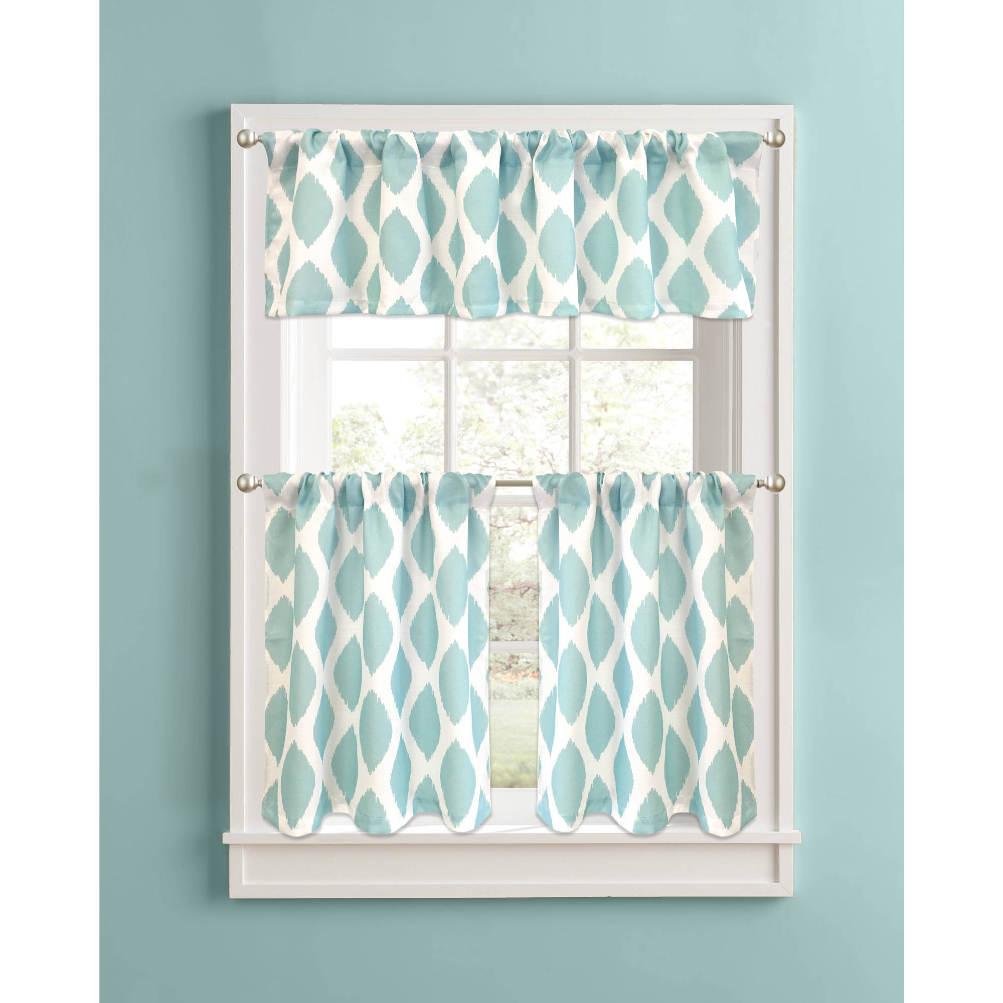 Better Homes And Gardens Aqua Ikat Diamonds Valance