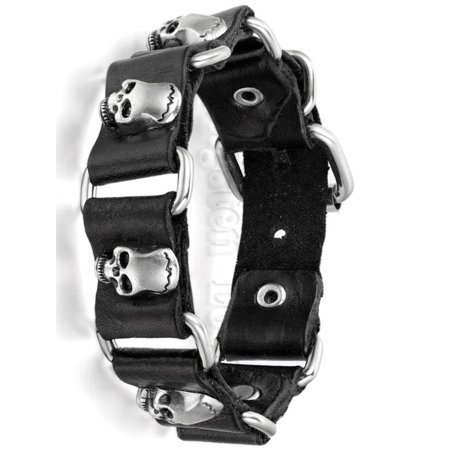 Brown Leather Strap Jewelry - 15mm Wide Fashion Jewelry Black / Brown Leather Bracelet Men Skulls Buckle Strap Boys Gift 9.6 inch pulseira masculina couro