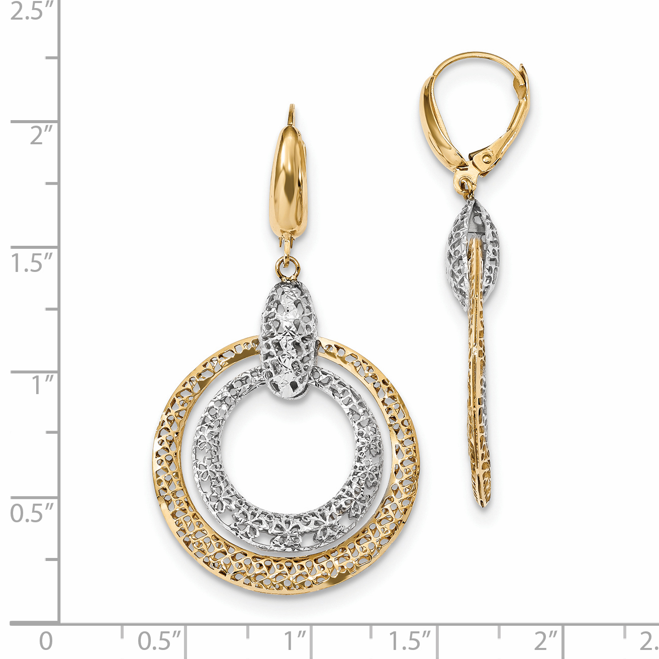 14k Yellow and White Gold Two-tone Polished and Diamond Cut Circle Dangle Leverback Earrings Length 49mm - image 1 de 2