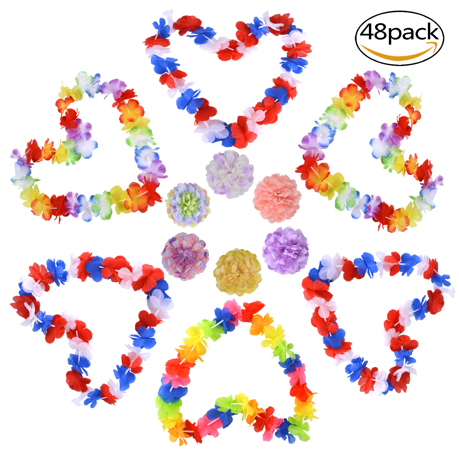 Luau Party Supplies, Coxeer 48 Pcs Silk Luau Themed Hawaiian Leis Jumbo Necklaces for Luau Party Favors(Necklaces and Hair Clips)