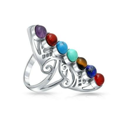 Multicolor Gemstones Boho Spiritual Aligned Chakras Full Finger Armor Ring For Teen Yogi  Women 925 Sterling Silver