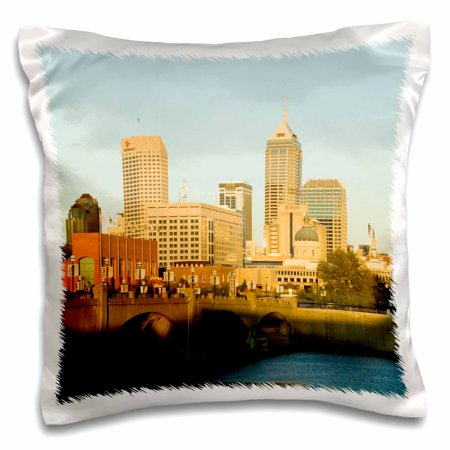 - 3dRose Indiana, Indianapolis, Skyline, White River Park - US15 WBI0046 - Walter Bibikow - Pillow Case, 16 by 16-inch