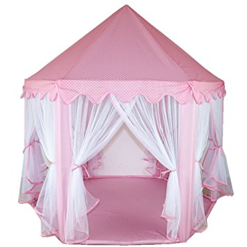 LEOSO Pink Princess Castle PLay Tent Fairy Princess Castle Tent Extra Large Room