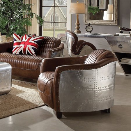Brown Grained Leather (ACME Brancaster Chair, Retro Brown Top Grain Leather &)