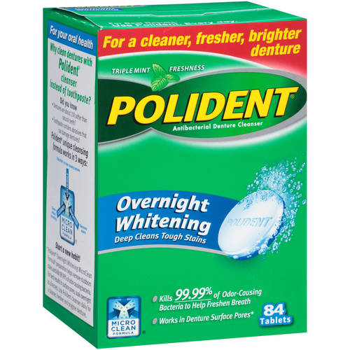 Polident Overnight Whitening Antibacterial Denture Cleanser Effervescent Tablets, 84 ct