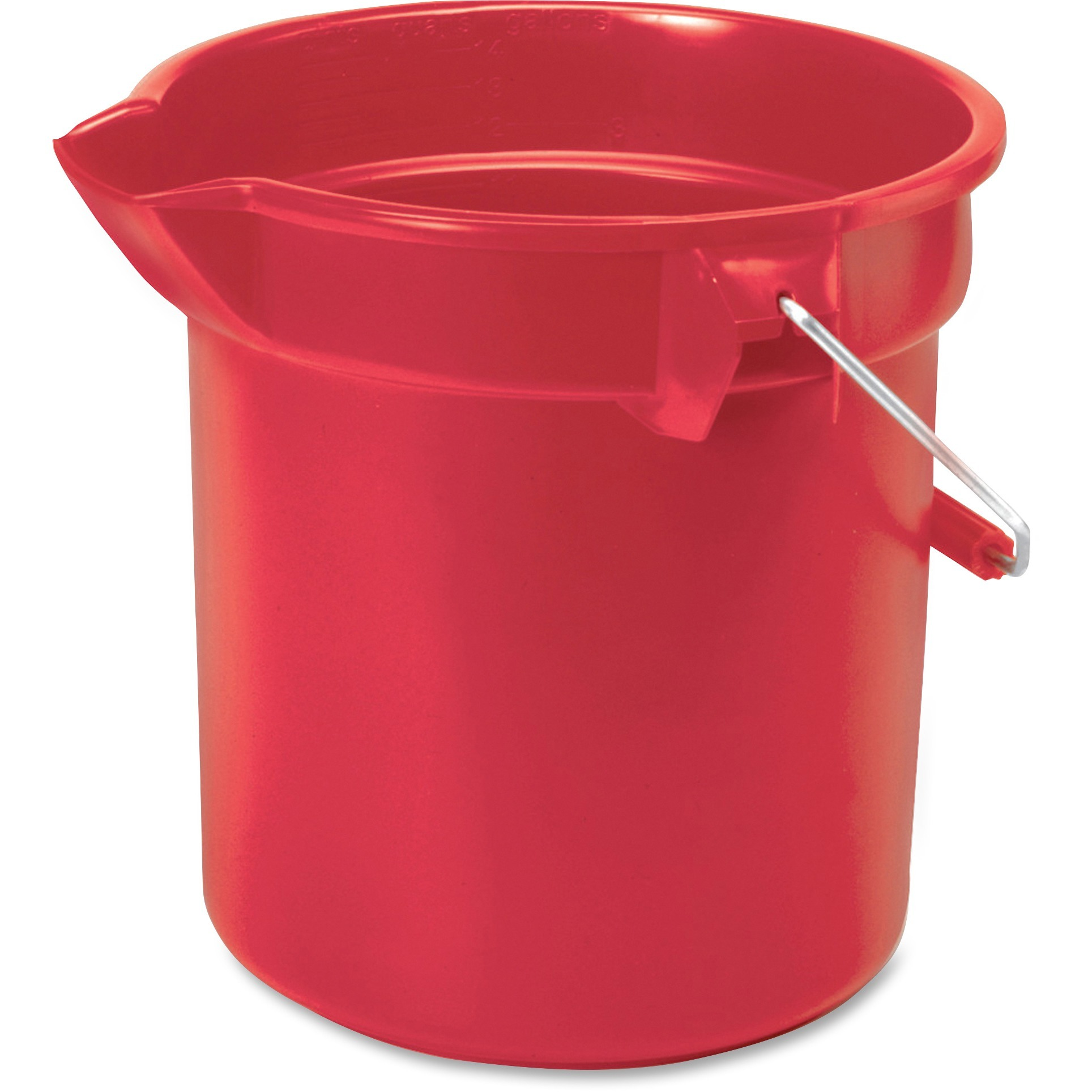 Rubbermaid Commercial, RCP261400RD, Brute 14-quart Round Bucket, 1 Each, Chrome,Nickel,Red