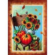 "Autumn Still Life Fall House Flag Decorative Leaves Sunflower  Pumpkin 28"" x 40"""