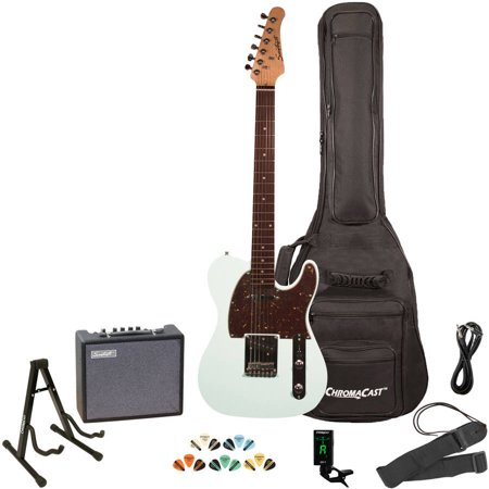 Music Man Guitar Amps - Sawtooth ET Series Electric Guitar Kit with Sawtooth 10 Watt Amp and ChromaCast Accessories, Black with Aged White Pickguard