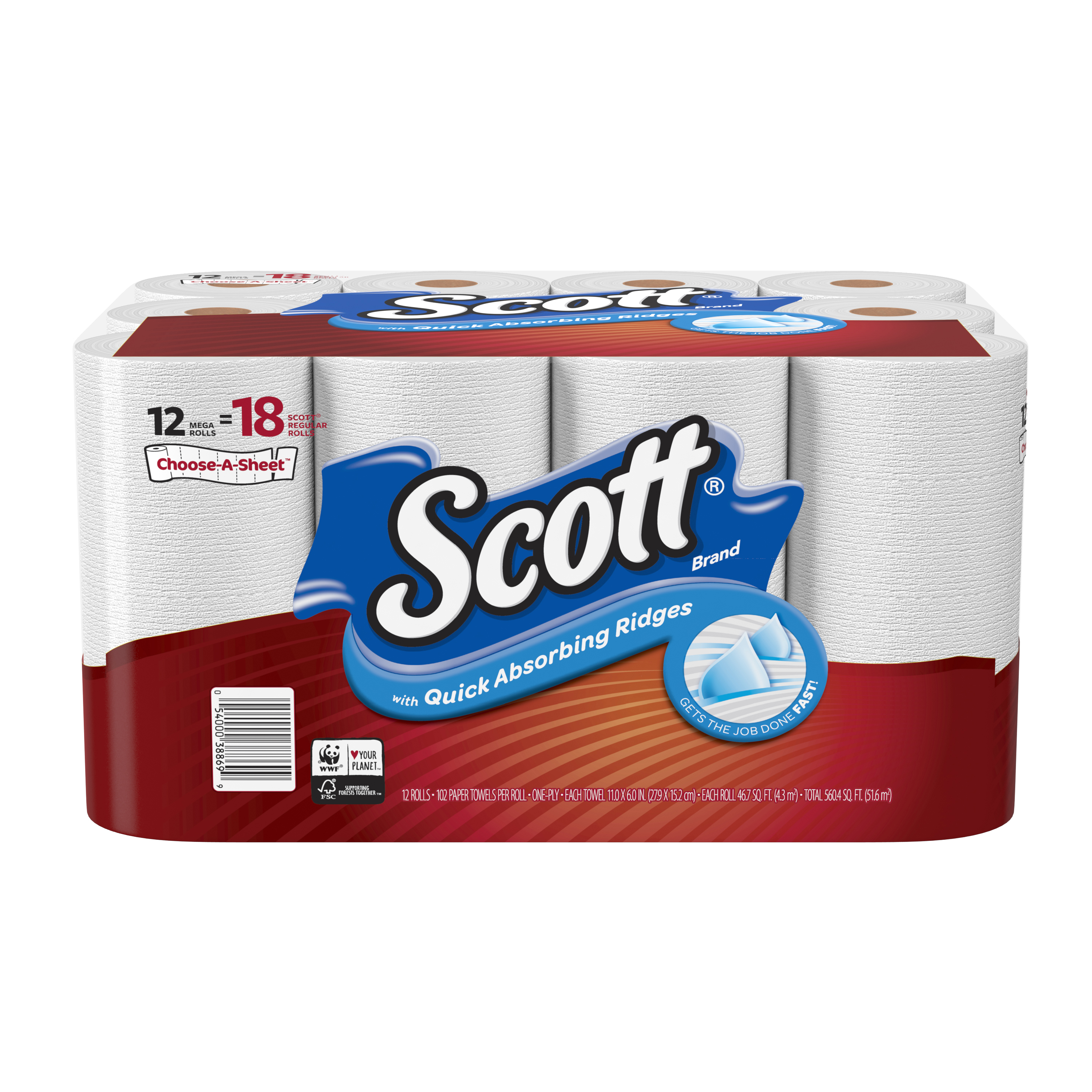 Scott Paper Towels, Choose-A-Sheet, 12 Mega Rolls