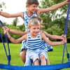 Swing Children Swing Set 40 Inch Saucer Tree Swing Seat Height Adjustable Nylon Rope With Padded Steel Frame