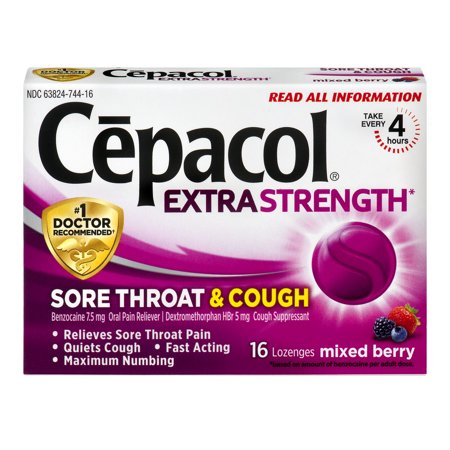 Cepacol Maximum Strength Throat and Cough Drop Lozenges, Mixed Berry, 16 Count