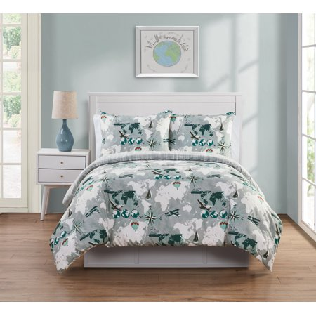 VCNY Home World Traveler Map Bedding Comforter Set