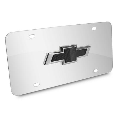 Chevrolet 3D Black Bowtie Logo Chrome Stainless Steel License Plate