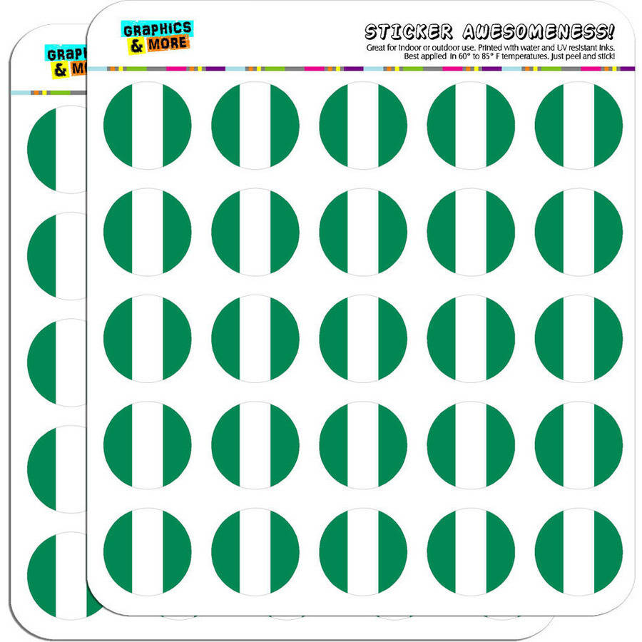 """Nigeria National Country Flag 50 1"""" Planner Calendar Scrapbooking Crafting Stickers"""