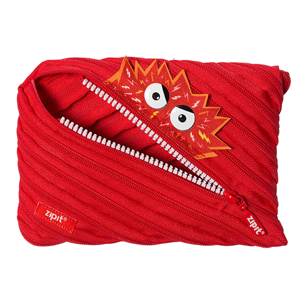 ZIPIT Talking Monstar Large Pencil Case, Holds up to 60 Pens, Made of One Long Zipper! (Red)