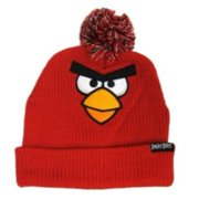 Angry Birds Mens Red Knit Bird Beanie Stocking Cap Winter Hat PomPom