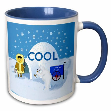 Ht Enterprises Polar Ice (3dRose Cool cartoon. Igloo and polar bear selling ice cream confront Eskimo. - Two Tone Blue Mug, 11-ounce)