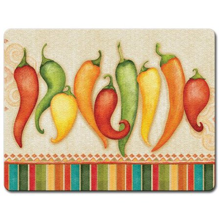 Highland Home Chili Peppers Glass Cutting Board