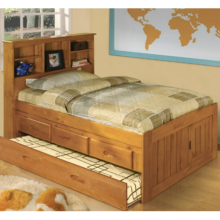 American Furniture Classics Solid Pine Twin Captains Bookcase Bed with Twin Trundle and 3 drawers in Honey Pine Twin Captains Bed Trundle