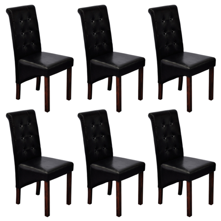 Phenomenal Vidaxl 6 Scroll Back Artificial Leather Wooden Dining Chairs Black Pabps2019 Chair Design Images Pabps2019Com