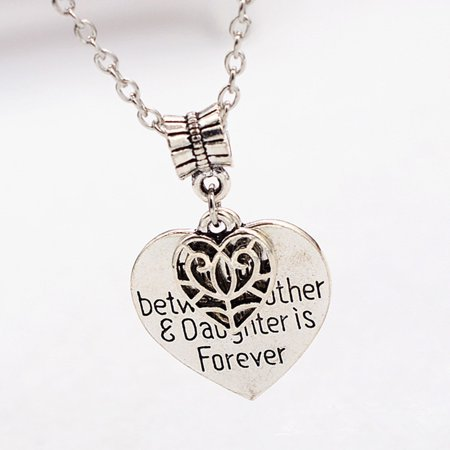 The Love Between Mother and Daughter Is Forever Heart Charm Necklace Mom Daughter Jewelry for Best Mother's Day Party Gifts From