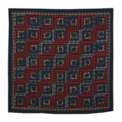 Patch Magic Red Log Cabin Cotton Shower Curtain