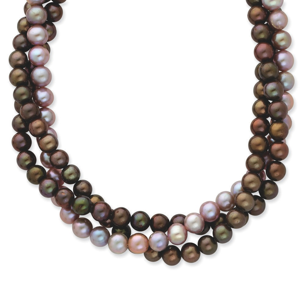 14k Yellow Gold Pearl clasp 6-6.5mm Brown Purple Freshwater Cultured Pearl Necklace 18 Inch by Jewelryweb