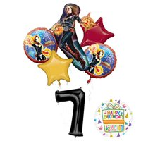Mayflower Products Captain Marvel Party Supplies 7th Birthday Balloon Bouquet Decorations
